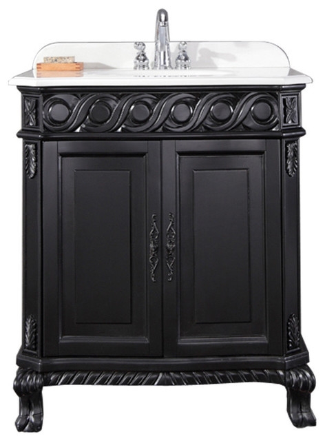 Trent Antique Black Vanity - Trent Antique Black Vanity - Victorian - Bathroom Vanities And Sink