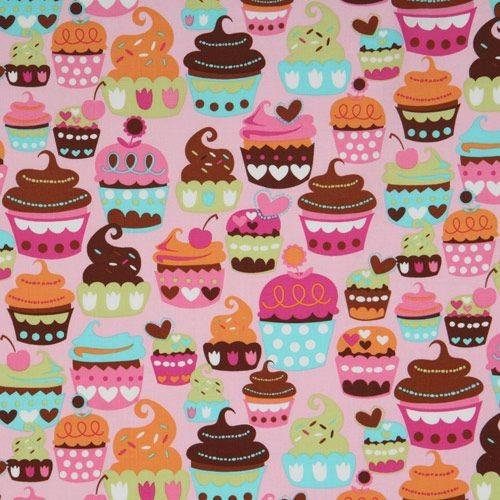 pink Michael Miller fabric Sweet Treats cupcakes