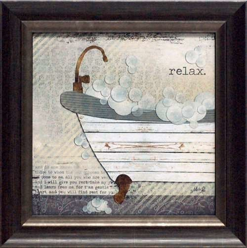 Relax Framed Vintage Bathroom Art Print 16 X 16 Modern Prints And Posters By Artistic