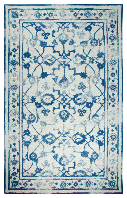 Avalon Ivory/dark Blue Distressed Rectangle Area Rug, 3.3&x27;x5.3&x27;.