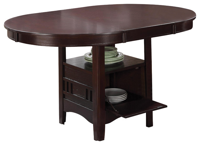 Contemporary Espresso Lavon Oval Round Dining Table With