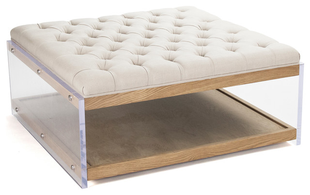 Square Linen Hollywood Regency Wood Acrylic Tail Ottoman