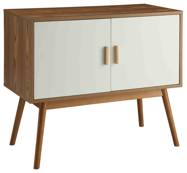 Oslo Storage Console, White And Natural Midcentury Console Tables