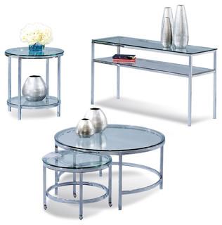 Bassett Mirror Company Bassett Mirror T1792 Patinoire Round Glass Top Occasional Table Set