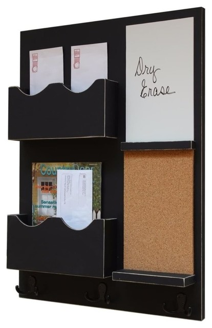 Mail Organizer With Corkboard Whiteboard Coat Hooks And Double Slots