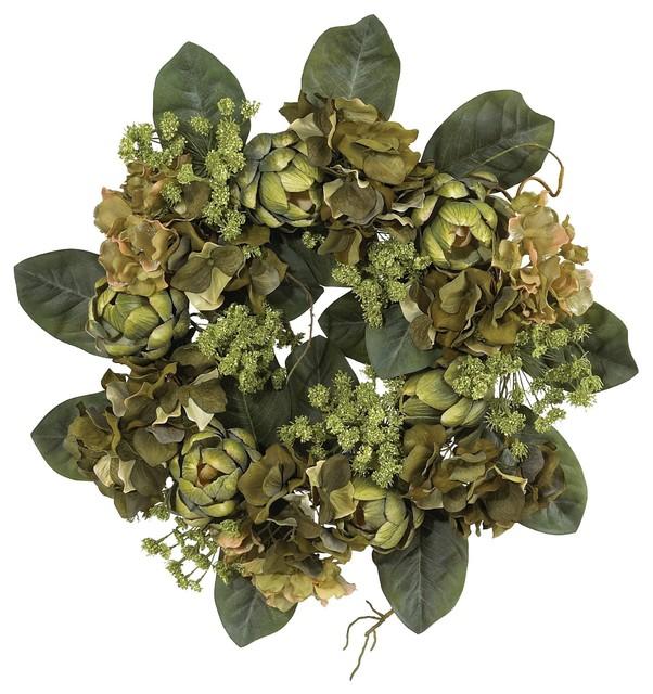 Silk Flowers -18 Inch Artichoke Wreath Artificial Plant.