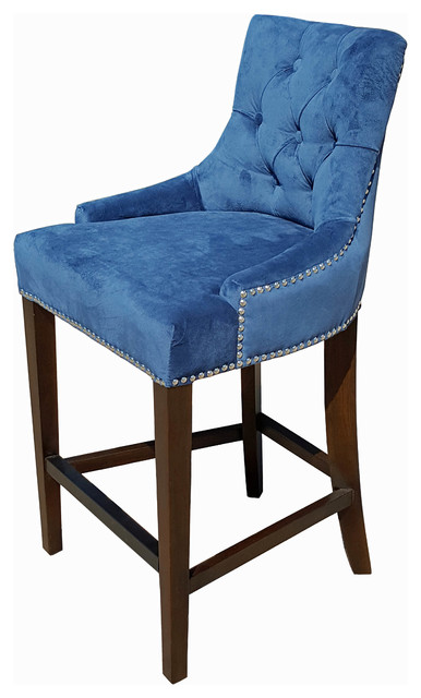 Blue Velvet Fabric Tufted Counter Stool wSilver Nail Head  : traditional bar stools and counter stools from www.houzz.com size 386 x 640 jpeg 51kB