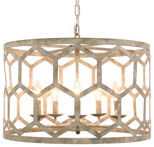 Milad Gray 5 Light Transitional Drum Chandelier 22 Round Contemporary Chandeliers By Lighting Boutique Houzz