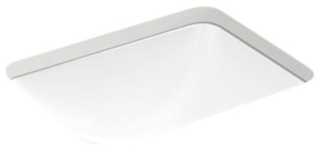 Kohler Caxton Rectangle Under-Mount Bathroom Sink w/ Overflow, White