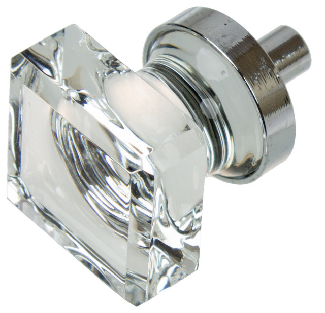 "GlideRite Hardware 1"" Square Glass Cabinet Knob - Transitional - Cabinet And Drawer Knobs - by ..."