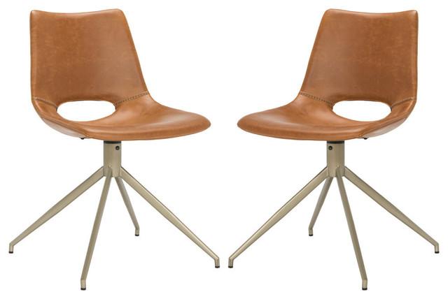 Safavieh Danube Leather Swivel Dining Chair, Set Of 2, Light Brown/brass.