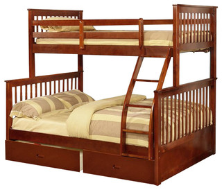 Walnut Twin Over Full Bunk Bed With Storage Drawers