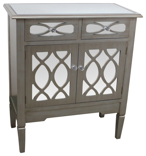 2 Door and 2 Drawer Mirrored Cabinet, Antique Silver Finish - Contemporary - Accent Chests And ...