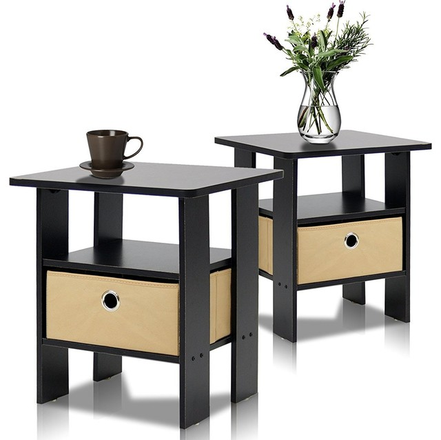 Furinno 2 11157ex End Table Bedroom Night Stand Pee Espresso Set Of