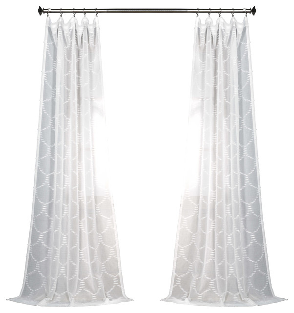 "Marseille Shell Patterned Fauxlinen Sheer Curtain Single Panel, 50""x96""."