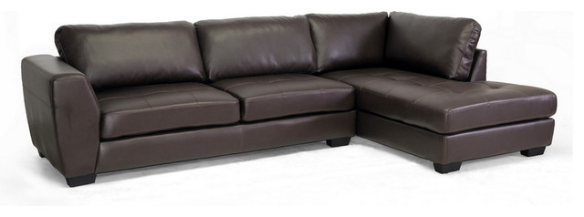 Baxton Studio Orland Leather Modern Sectional Sofa Set With Right Facing Chaise