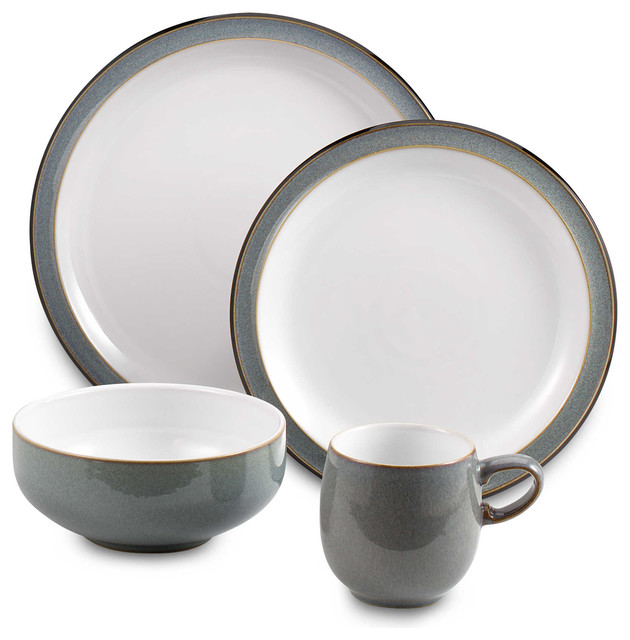 Denby Jet Grey 4-Piece Dinnerware Set Set of 8  sc 1 st  Houzz : denby jet dinnerware - pezcame.com