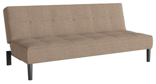 Convertible Futon Sofa Bed With Textured Cinnamon Beige Mattress Transitional Futons By Homesquare