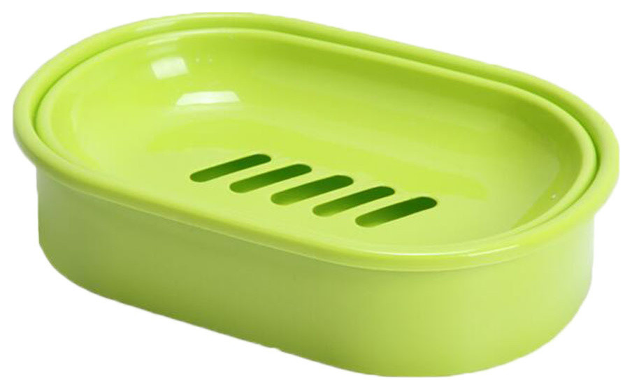 Pink Freestanding Soap Dish From Plastic With Rubber Finish