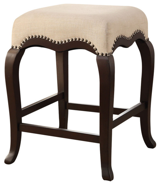 Acme Kakabel Counter Height Stool Cream Fabric And Espresso
