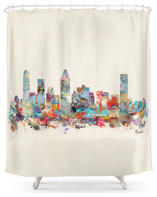 Society6 Montreal Quebec Skyline Shower Curtain Contemporary Shower Curtains  Contemporary Shower Curtains