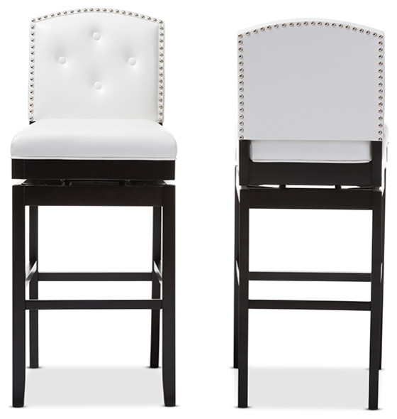 Ginaro Button-Tufted Upholstered Swivel Bar Stools, Set of 2, White Faux Leather