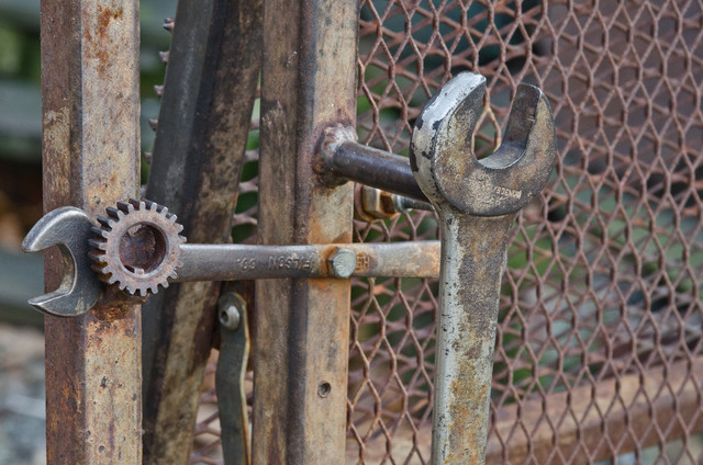Wrenches Are Reused For The Gate Handle And Latch