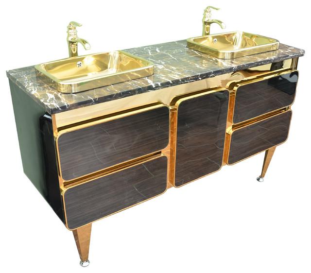 double bathroom sink. Ucore 59  Gold Trim Double Bathroom Vanity contemporary bathroom vanities and Contemporary