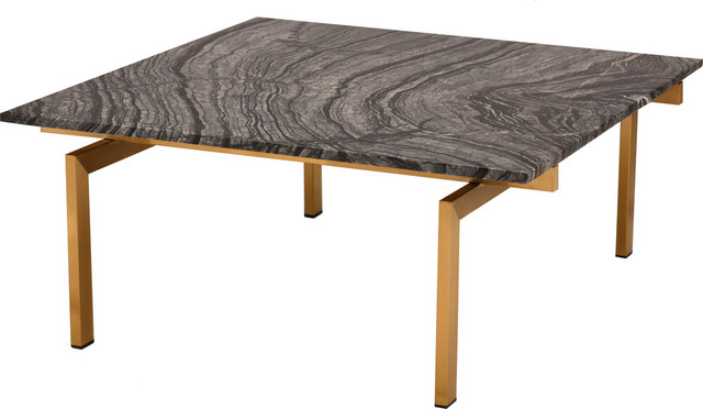 Louve Square Coffee Table Black Marble Square Top Brushed Gold