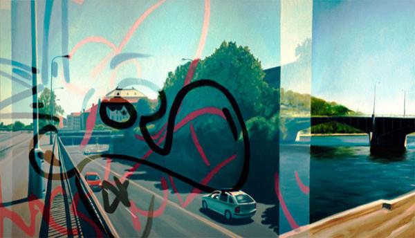 """Hidden Pursuit Fine Art Giant Canvas Print 84""""x48""""."""