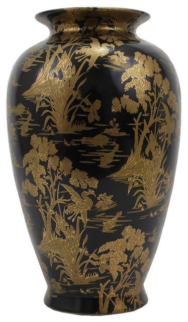 Black And Gold Gild Hand Painted Chinese Porcelain Vase
