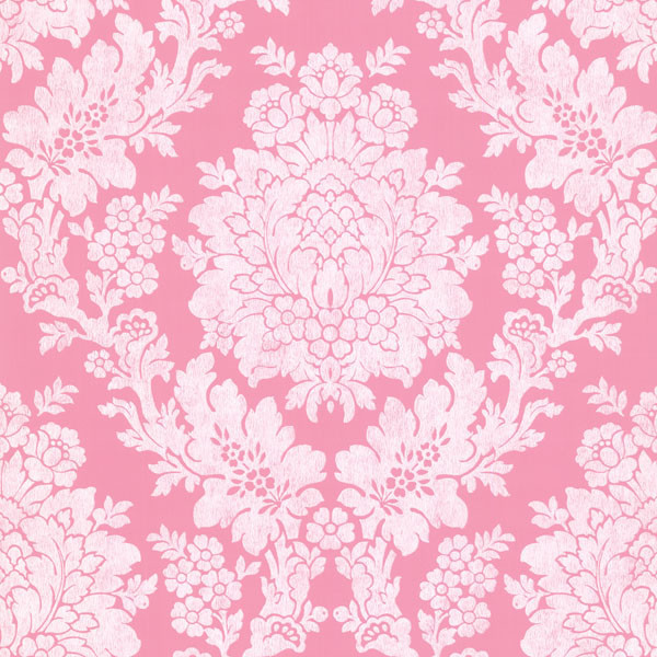 Liza Pink Roselle Damask Wallpaper Contemporary