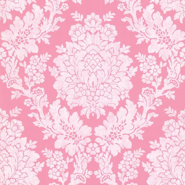 Liza Pink Roselle Damask Wallpaper Bolt