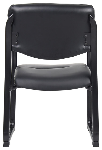 Boss Office Products Leather Sled Base Side Chair in Black Set of 5