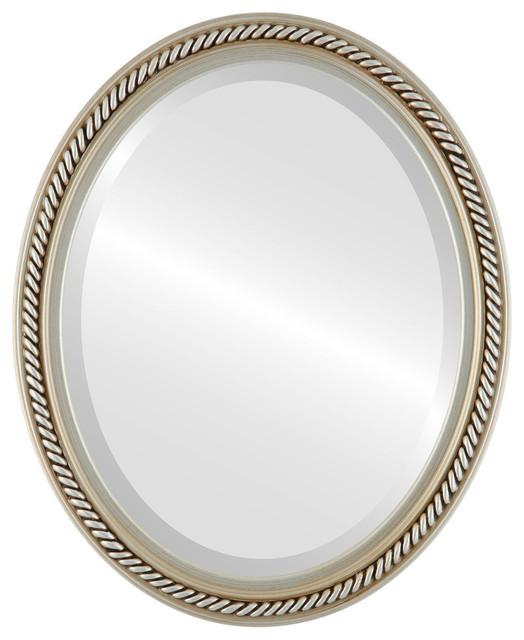 "Santa Fe Framed Oval Mirror In Silver, 18""x22""."