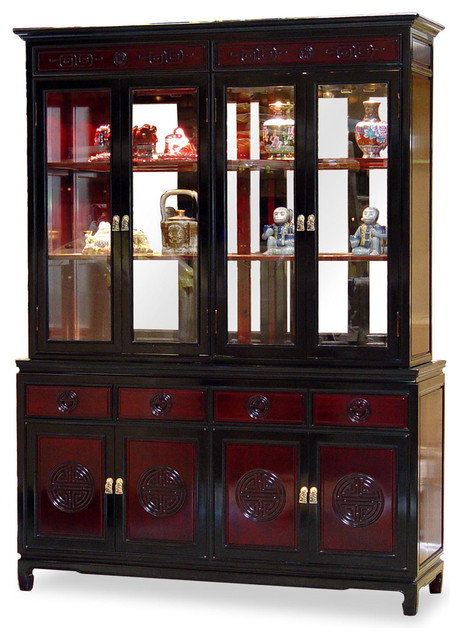 "60"" Rosewood Longevity Motif China Cabinet - Asian - China ..."