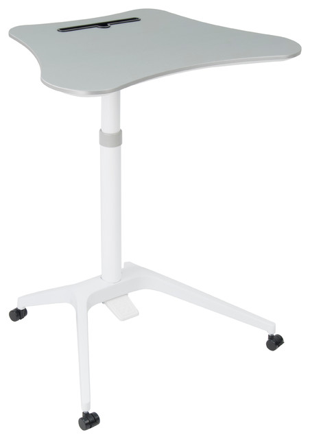 Cascade Adjustable Height Sit To Stand Up Cart, White And Silver.