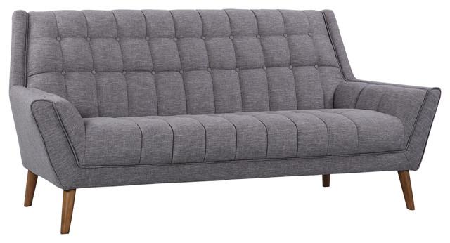 Cobra Modern Sofa Blue Linen And Walnut Legs Midcentury Sofas