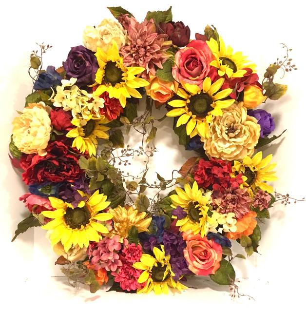 Fall Sunflower Wreath All Season Peony Hydrangea Rose Rust Gold Orange Purple.