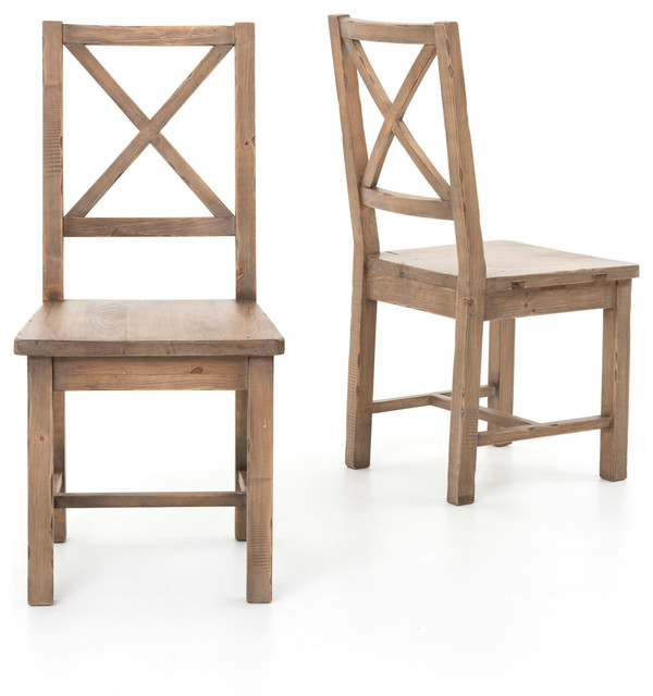 Coastal Rustic Solid Wood Dining Room Chair, Set of 2