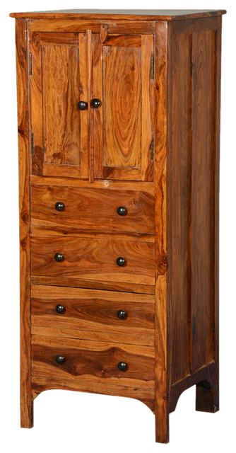 Rustic Solid Wood 56  Tall Storage Cabinet w 4 Drawers & Rustic Solid Wood 56