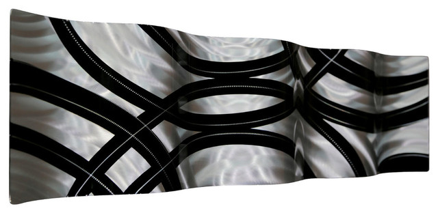 """Modern Contemporary Black And Silver Metal Wall Accent, """"crossroads"""" Wave."""