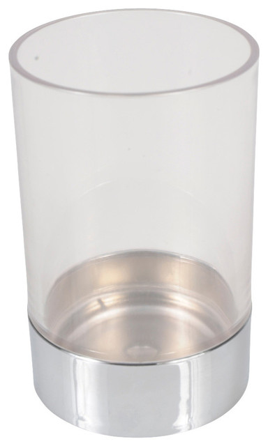 Exceptionnel Bathroom Round Tumbler Acrylic Clear With Chrome Base  Contemporary Toothbrush Holders