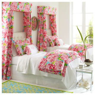 Lilly pulitzer hotty pink bedding wall color help for Kitchen colors with white cabinets with lilly pulitzer wall art