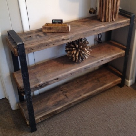 Three Tier Shelving Unit With Reclaimed Wood From The Pullman Factory  Industrial