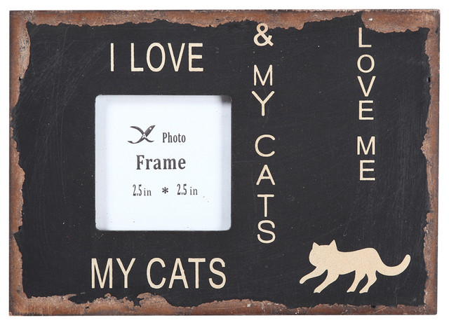 Wood Chunky Frame I LOVE MY CATS traditional-picture-frames