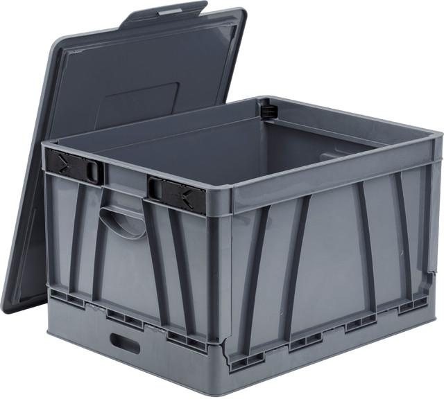 Folding Storage Cubes With Lids, Gray, Case Of 2.