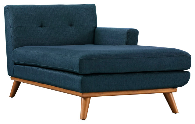 Upholstered Fabric Right-Facing Chaise, Azure