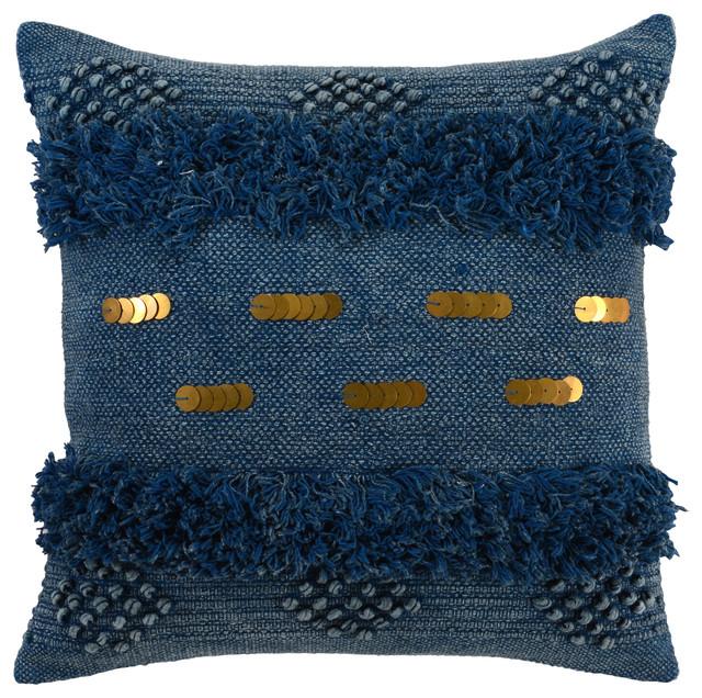 """Seline Fringe 22"""" Throw Pillow By Kosas Home, Indigo."""