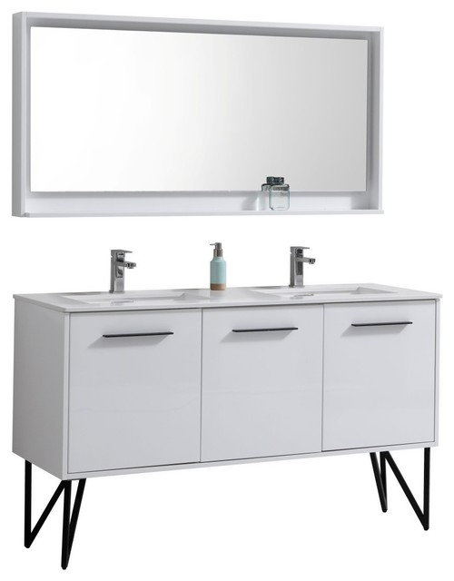 "60"" Double Sink Modern Bathroom Vanity With Quartz ..."